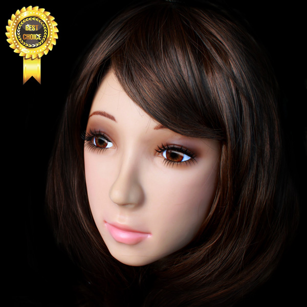Beauty silicone mask SH-19  True mask Dressing props wholesale avoid  sissy boy whloesaler Cosplay props Non-toxic with wig [sf 11] fixed with zipper sissy boy rubber latex mask cross dressing halloween horror female mask female mask sissy boy
