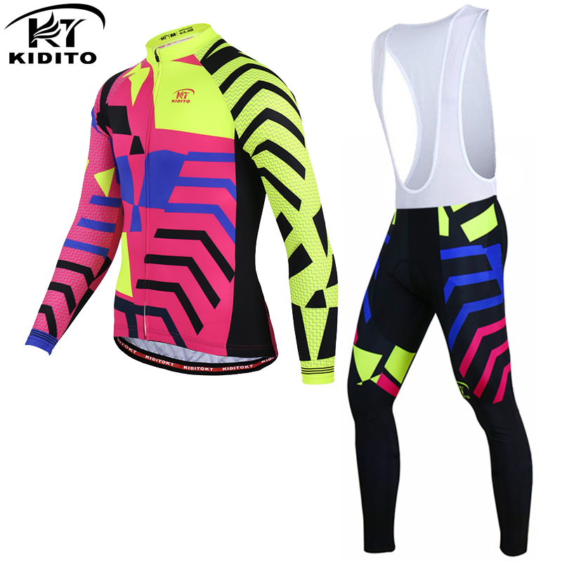 KIDITOKT Long Sleeve Winter Thermal Cycling Jersey Pro Maillot Ropa Ciclismo Invierno  MTB Bike Clothing Bicycle Wear 2017 veobike cycling jersey ciclismo 2017 pro team 8 style men s winter long sleeve bike set mtb bicycle wear ropa ciclismo invierno
