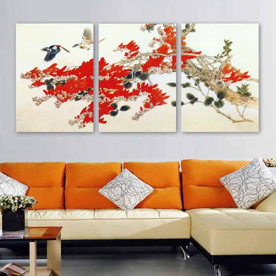 Framed 3 Panel Large Chinese Painting For Sale Wall Art Flower And Bird Oil Painting On