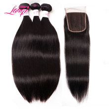 Malaysiske Straight Hair Bundles Med Closure Non Remy Hair Weaving 3 Bundles Human Hair Weave Bundler Med Close LanQi Hair