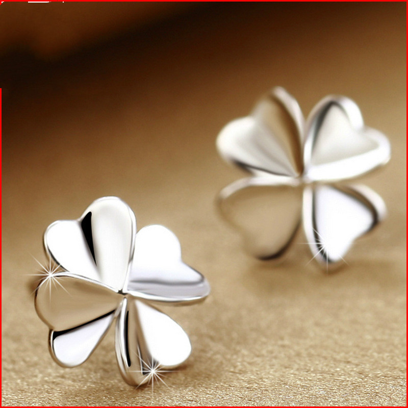 Fashion 925 Sterling Silver Jewelry Delicate Clover Design Stud Ear Rings Women Anti-all ...