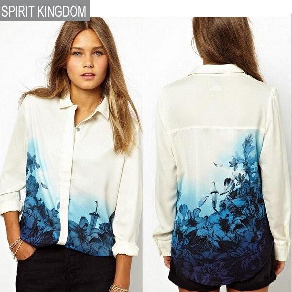 Padrão meninas doce Floral azul Turn down Collar Chiffon verão blusa ocasional das senhoras camisas moda feminina blusa 1BL0025