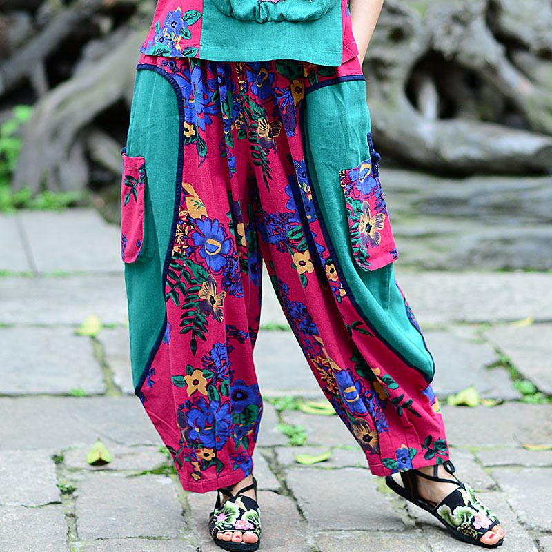 New Spring Summer Clothing National Wind Cotton and Linen   Wide     Leg     Pants   Embroidery Puzzle Large Size Female Loose Waist   Pants