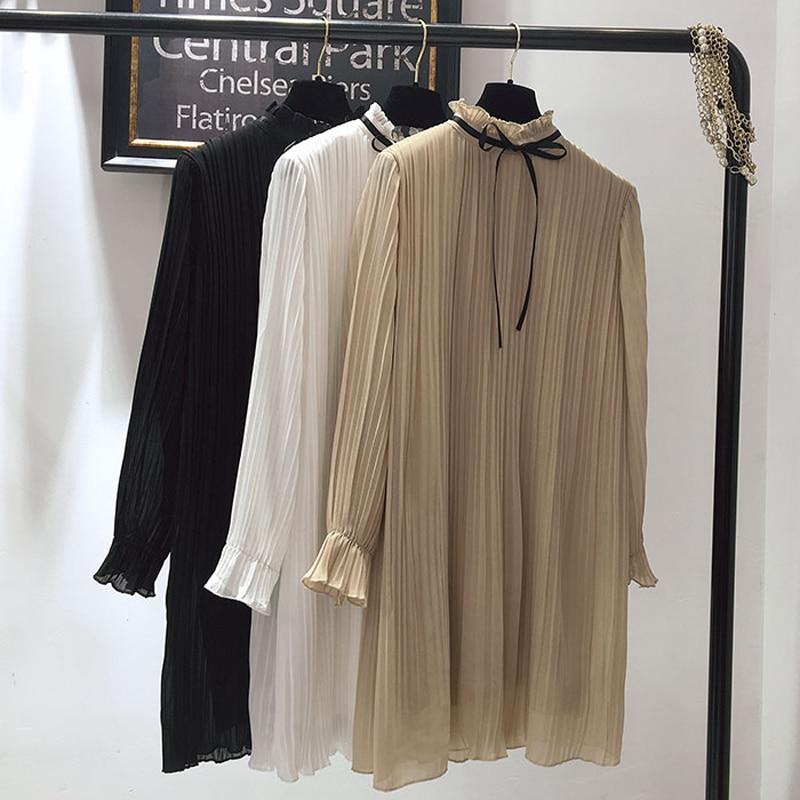 Robe Feuille longueur Demi longueur Mode Ok001 Nouvelle De 2018 Color Lâche Mousseline Lotus Femmes Rembourré Mi En beige Black Col white Soie Plissée 8ASnwq