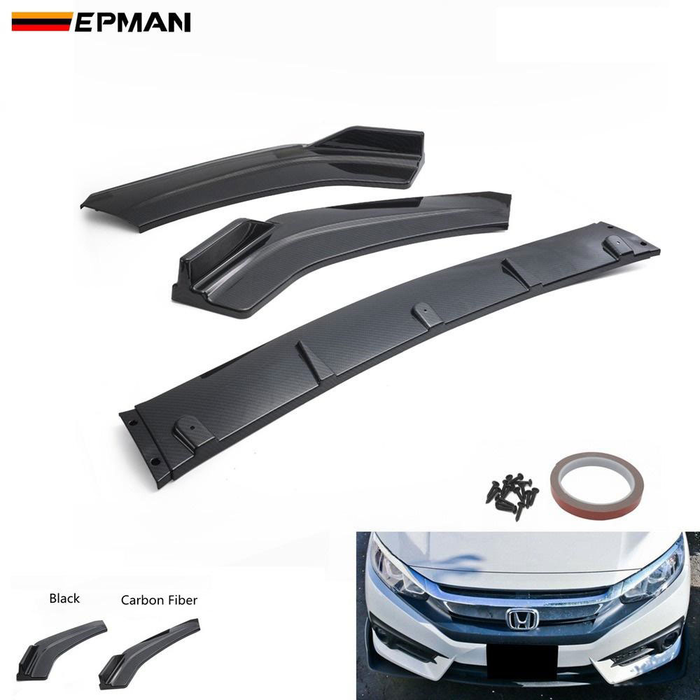EPMAN - 3pcs Auto Front Bumper Chin Lip Spoiler Body Kit For Honda Civic Sedan 16-18 EP-QCHD1618