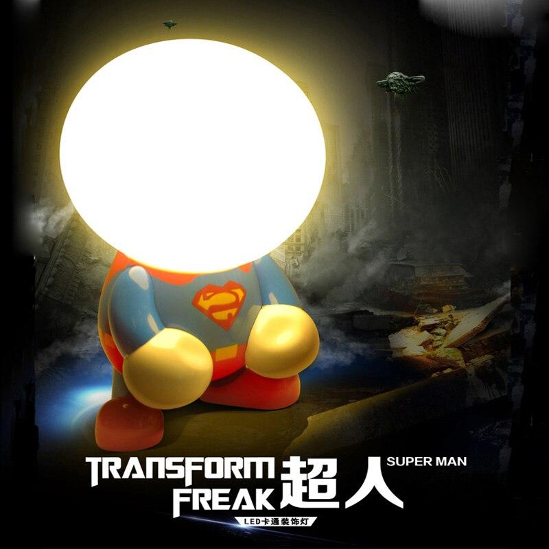Novelty LED Superman batman Night Lights Christmas Luminaria decoration Indoor lighting gifts for Kids Bedroom Desk table lamps
