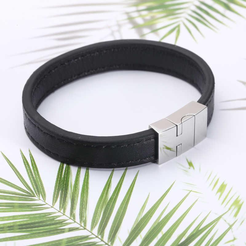 Mcllroy skórzana bransoletka/mężczyźni/dla kobiet/czarne brązowe bransoletki i bransolety własne logo ze stali nierdzewnej mężczyzn biżuteria Valentine
