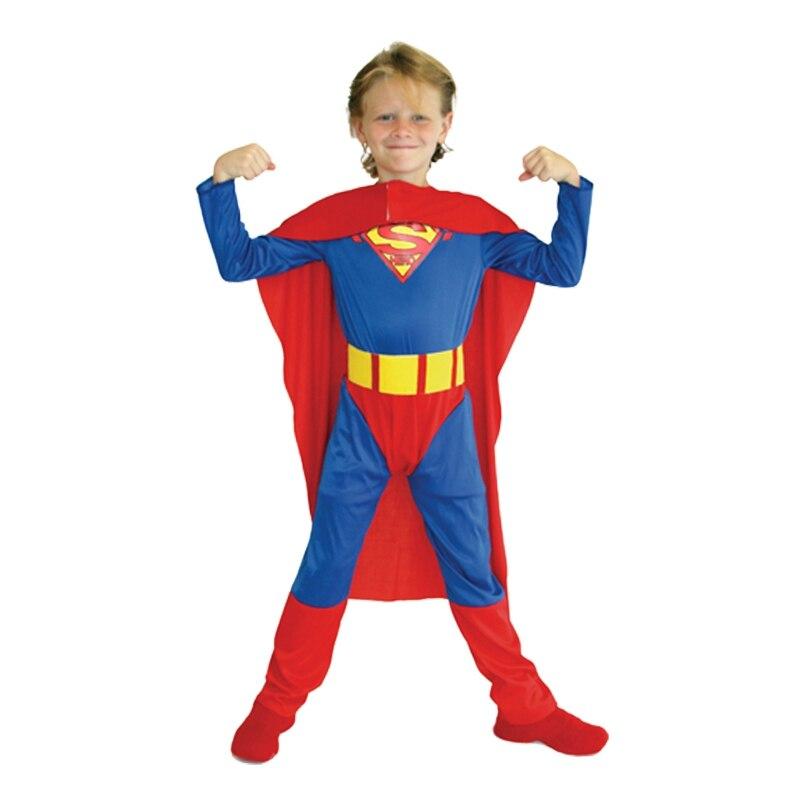 Umorden Purim Carnival Party Halloween Costumes Children Superhero Superman Cosplay Kids Super Man Costume Boys Fancy Jumpsuit