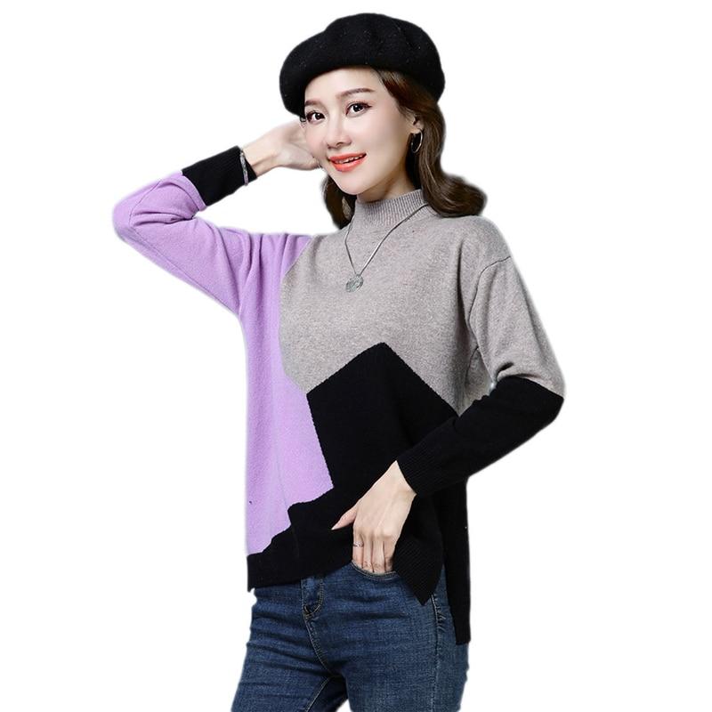 Basant Vs420 Nouvelle Automne Black purple Couleur Coréen 2019 Lâche Pull Matching red Laine Femme Tricots Col Femmes Haut Printanier Hiver Style yellow 6Ib7Ygfyvm