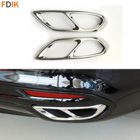 2pcs ABS Chrome Rear Bumper Dual Exhaust Pipe Tip Molding Trim Cover for Mondeo Fusion 2013 2014 2015