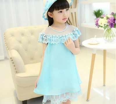 תינוקת בגדי 2018 קיץ חדש פנינת שמלת תחרה ילד גדול שיפון נסיכת שמלת ילדה ללא שרוולים Loose שמלת ביצועי 4-12Y