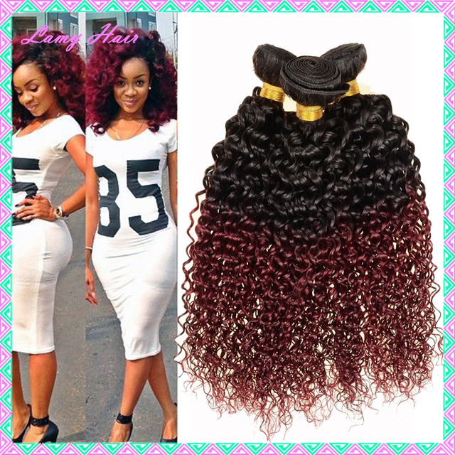 Brazilian Hair Curly Wave Ombre 1b Burgundy Red Two Tone Hair