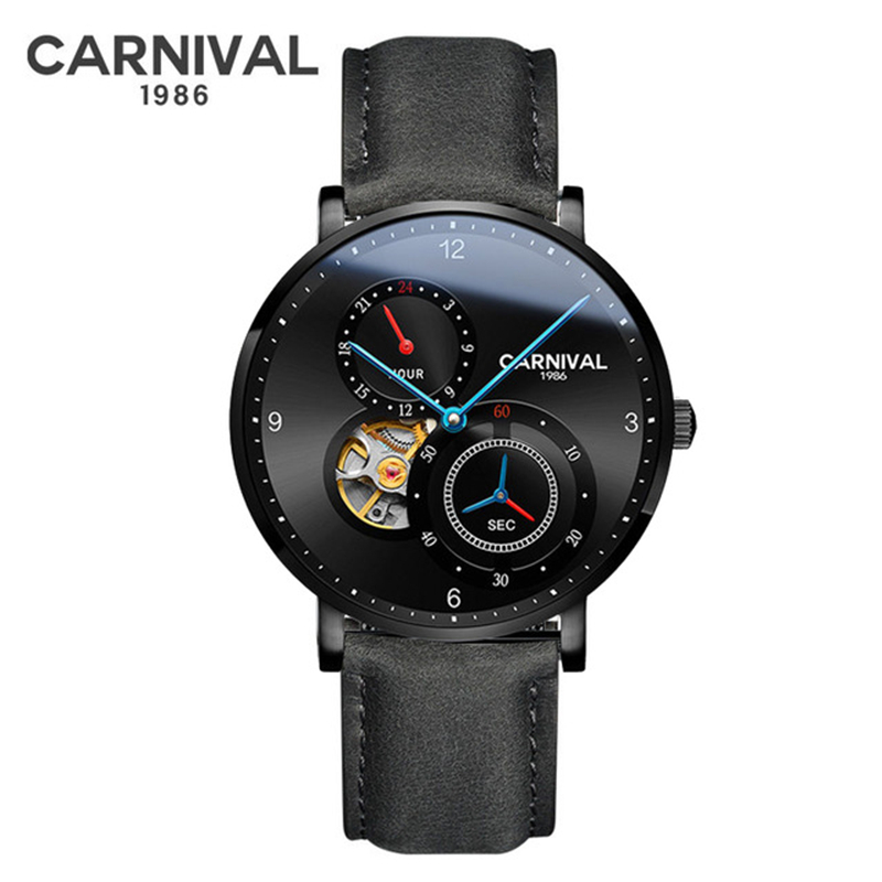 Tourbillon Automatic Watch Men CARNIVAL 2019 Mechanical Watches Leather Strap Small Second Dial 24 hours Skeleton Sport Watch