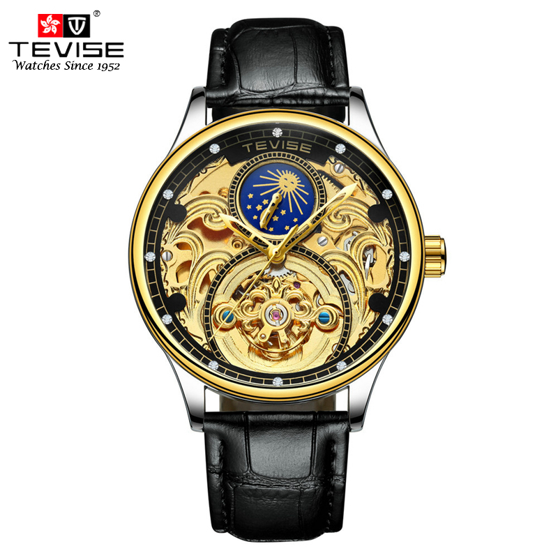 TEVISE Luxury Tourbillon Automatic Mechanical Watches Men Self Wind Business Genuine Leather Moon Phase Wristwatches T820A