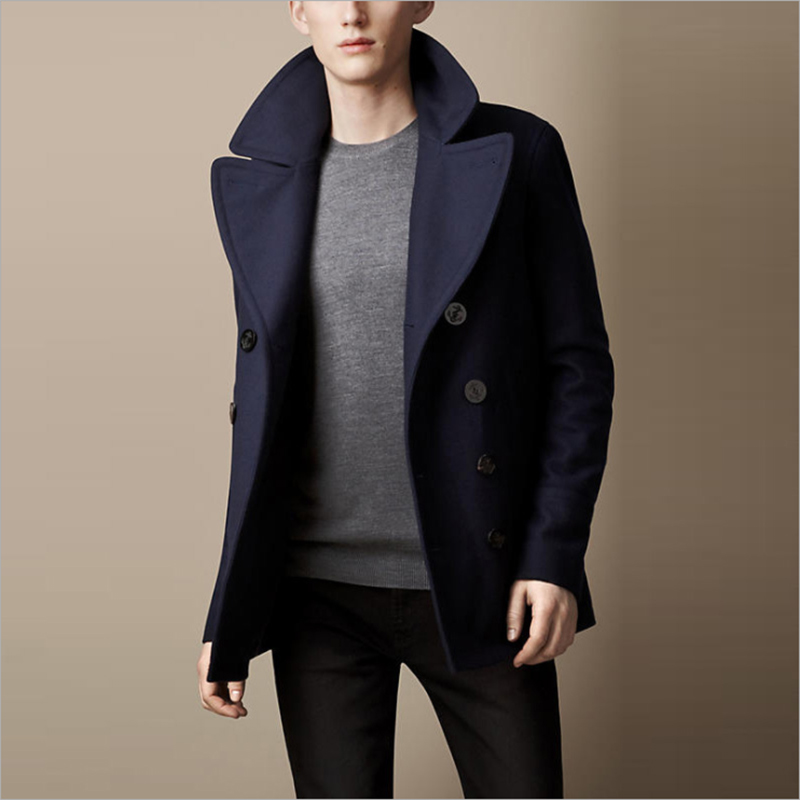 complete range of articles designer fashion highly praised US $249.99 |Expensive Luxury Winter Peacoat Men Short Trench Coat Wool  Double Breasted Trenchcoat Male Pea Coat Navy Color-in Trench from Men's ...