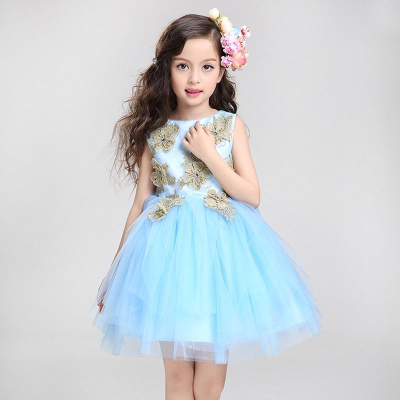 ФОТО 2017 Summer tulle blue flower girl fashion dress gold appliques birthday evening prom cloth tutu party dress children Wear