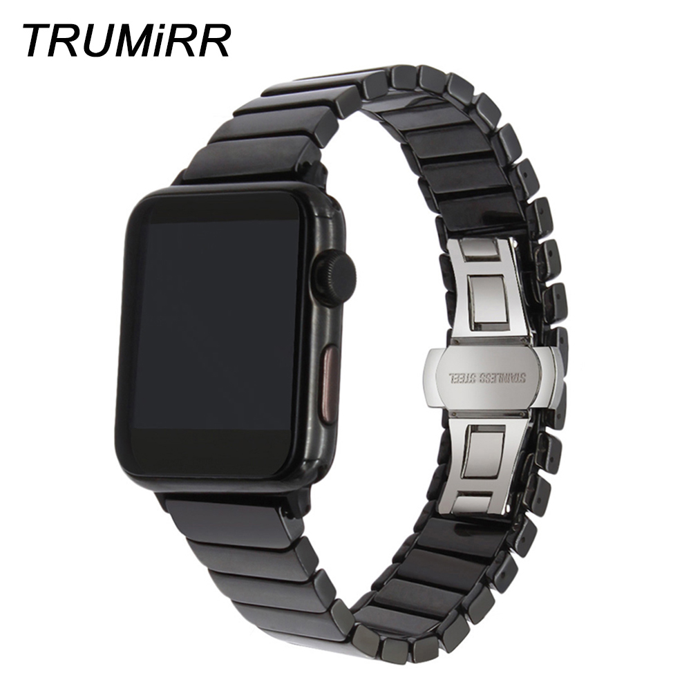 Glossy Ceramic Watchband for iWatch Apple Watch 38mm 40mm 42mm 44mm Series 4 3 2 1 Butterfly Clasp Band Wrist Strap Bracelet ceramic watchband tool for 38mm 42mm iwatch apple watch series 1 2 replacement band steel butterfly buckle strap wrist bracelet