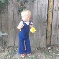 KIKIKIDS Baby Girls Boot Cut Pants Jeans Pants Toddler Girl Blue Bib Pants Fashion High Quality