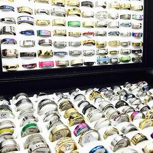 Image 3 - MIXMAX ensemble de bagues pour femmes, vente en gros, 100 pièces, ensemble de bagues en acier inoxydable, couple, bijoux, cadeaux de fête, livraison directe