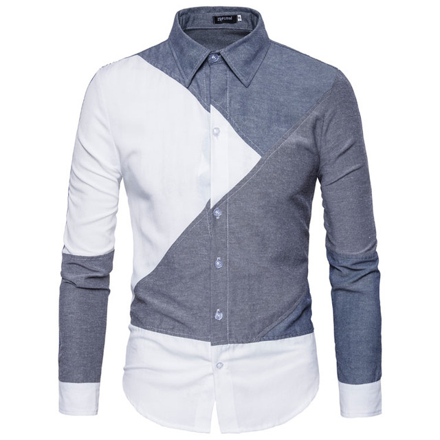 77a7332b793 Mens long Sleeve printed Clearance Slim Fit Button Front Shirts casual  patchwork collar designer shirt boy males spring clothing
