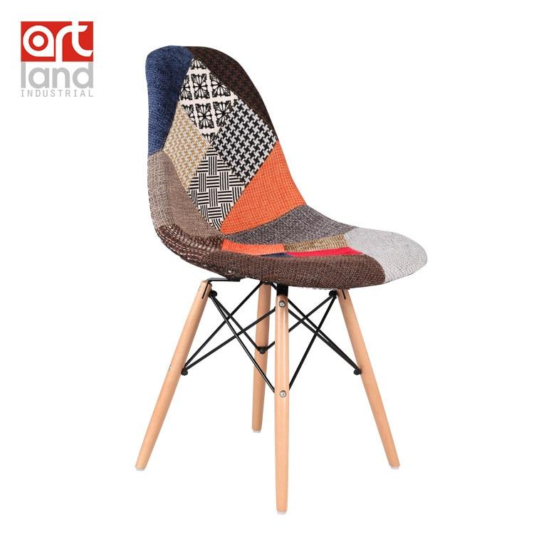 Upholstered Side Chair Fabric Seat Wood Leg Dowel Base