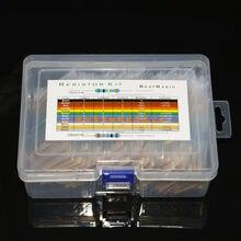 Kit de résistances assorties en Film métallique, 1280 pièces, 64 valeurs, 1/4 W (1R-10M)