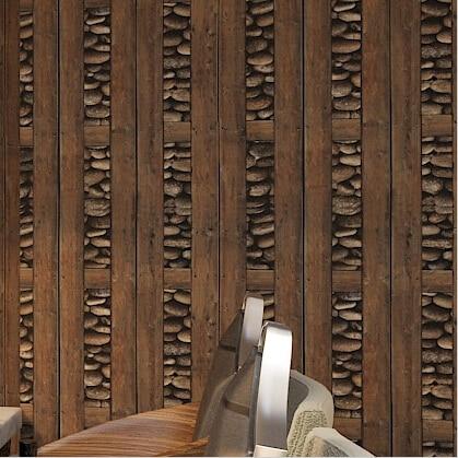 Retro chino 3D madera wallpaper pvc madera paredes para sala TV