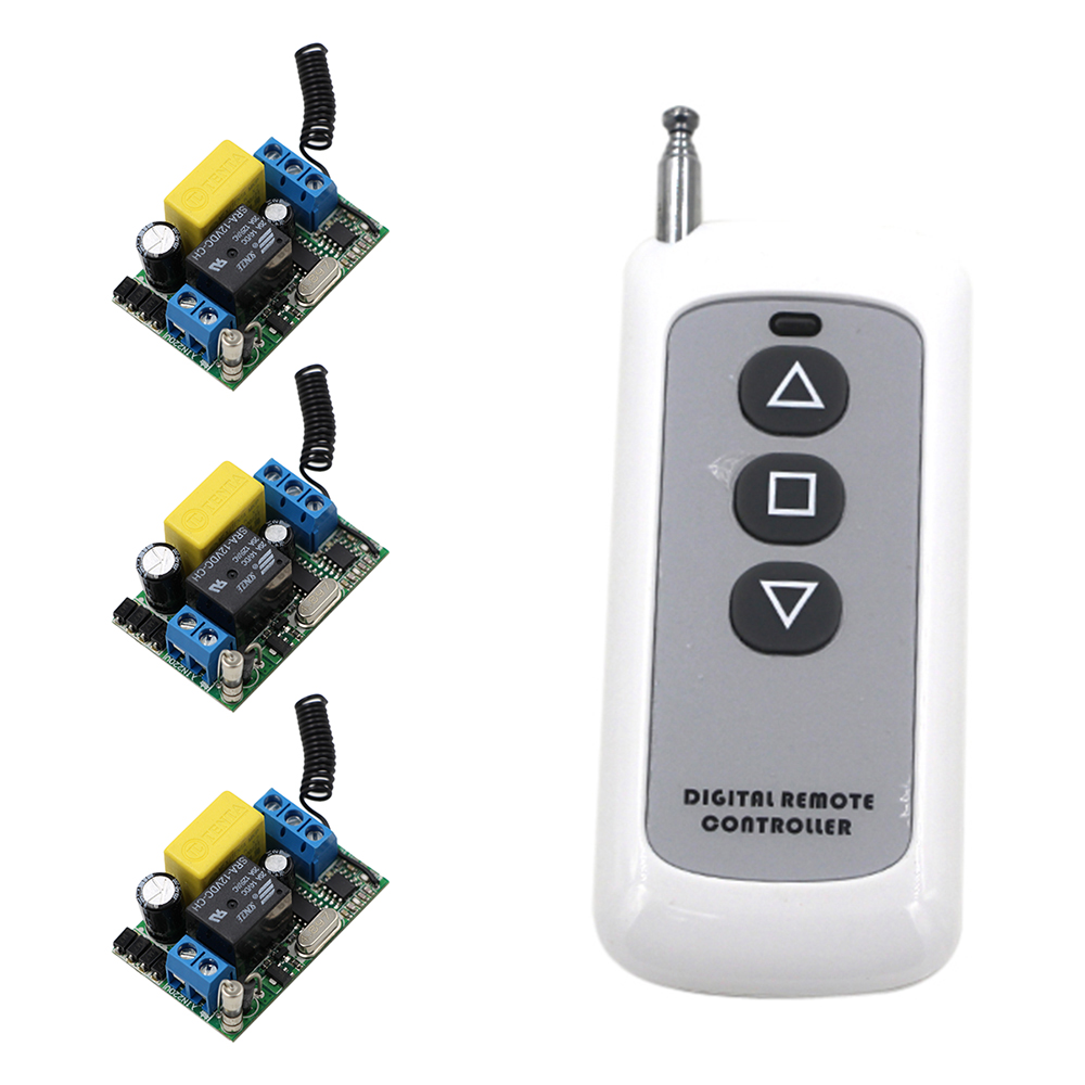New Product AC220V  1CH RF Wireless Remote Control Switch System 220V Relays Receiver*3 +Transmitter*1 High Quality 315/433Mhz