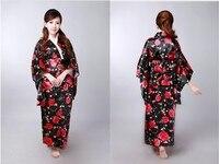 2013 NEW Black Vintage Japanese Women S Silk Satin Kimono Yukata Evening Dress One Size Free