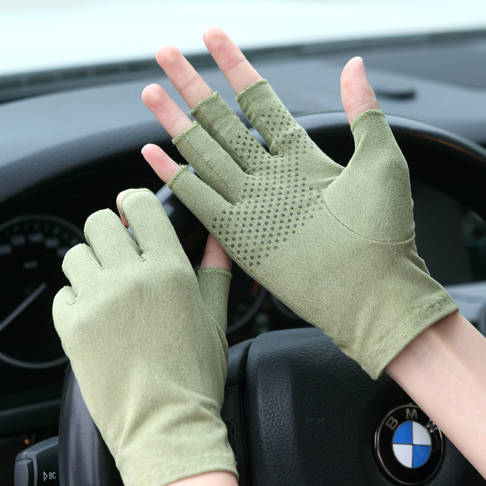New Suede Summer Gloves Male Female Thin Semi Finger -6936