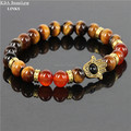 Gold Hamsa Bracelets Men Women 2016 Fashion Jewelry Natural Tiger Eye Red Agate Stone Beads Fatima Hand Bracelet Femme
