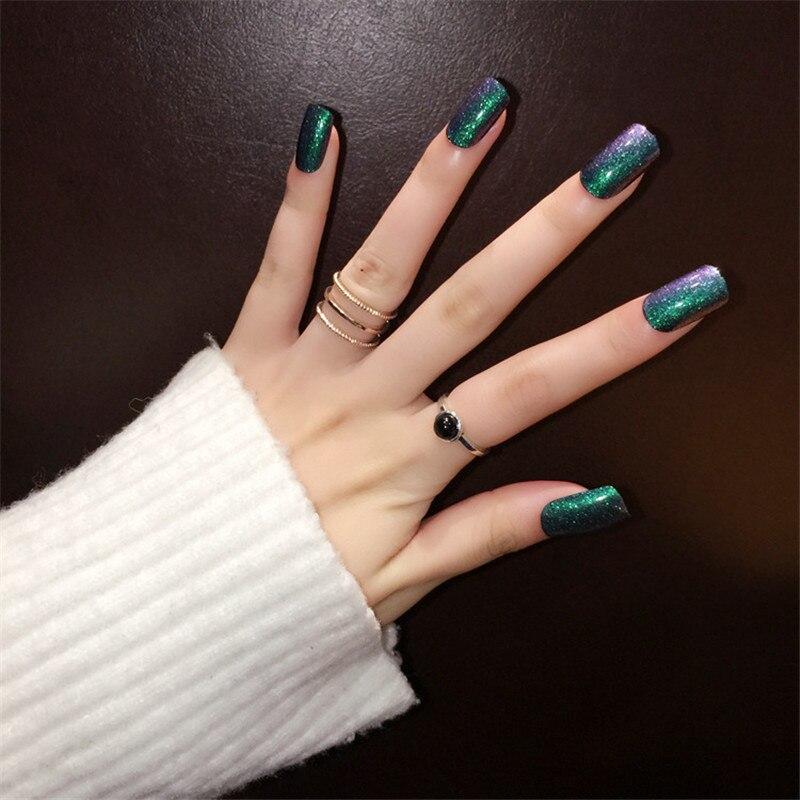 Fashion Summer 50% off Wedding French Manicure fake Nail Green ...