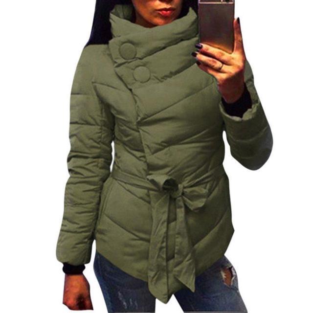Morno mulheres jaqueta de Inverno parkas de Algodão Acolchoado para baixo casaco Cinto de gola alta com cinto para Senhoras 3 cores casacos Feminino