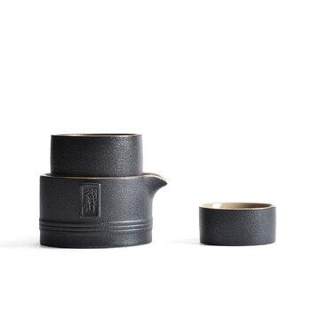 PINNY Antike Schwarze Keramik Reise Tee-Set Einfache Kung Fu Teekanne Enthalten 1 Topf 2 Tasse Gaiwan Schön Und Einfach Tee Service