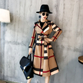 Top 2018 products Elegant woman coat plus size autumn womens fashion Long coats Korean style Plaid trench coat
