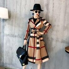 Top 2018 products Elegant woman coat plus size autumn womens fashion Long coats Korean style Plaid trench coat