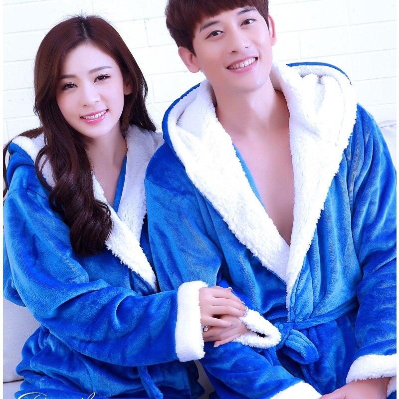 Aliexpress.com : Buy Long Hooded Bath Robe Women for Men Warm ...