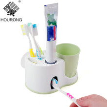 Hourong 1PC Automatic Toothpaste Dispenser Cute Toothbrush Holder Toothpaste Squeeze Bathroom With Sucker Bathroom Accessories