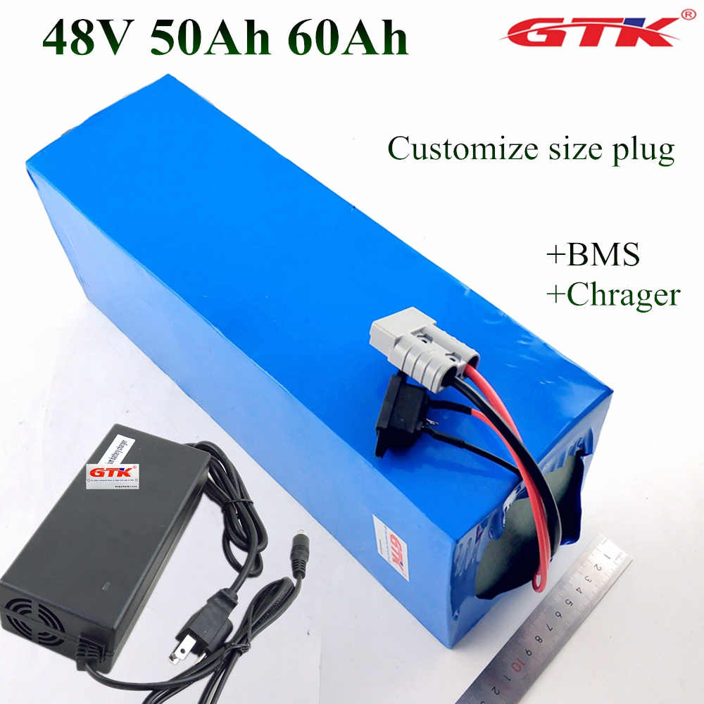Electric Bike 48V 60Ah 50Ah Lithium Battery Pack for 4000W 5000W 100A BMS E-Bike Battery 48v 52v Free Shipping + 5A Charger