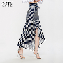 OOTN Boho Ruffle Asymmetrical Long Skirt Women Autumn Blue Striped High Waist Skirts Female Irregular Bow Tie Sashes Skirts 2018