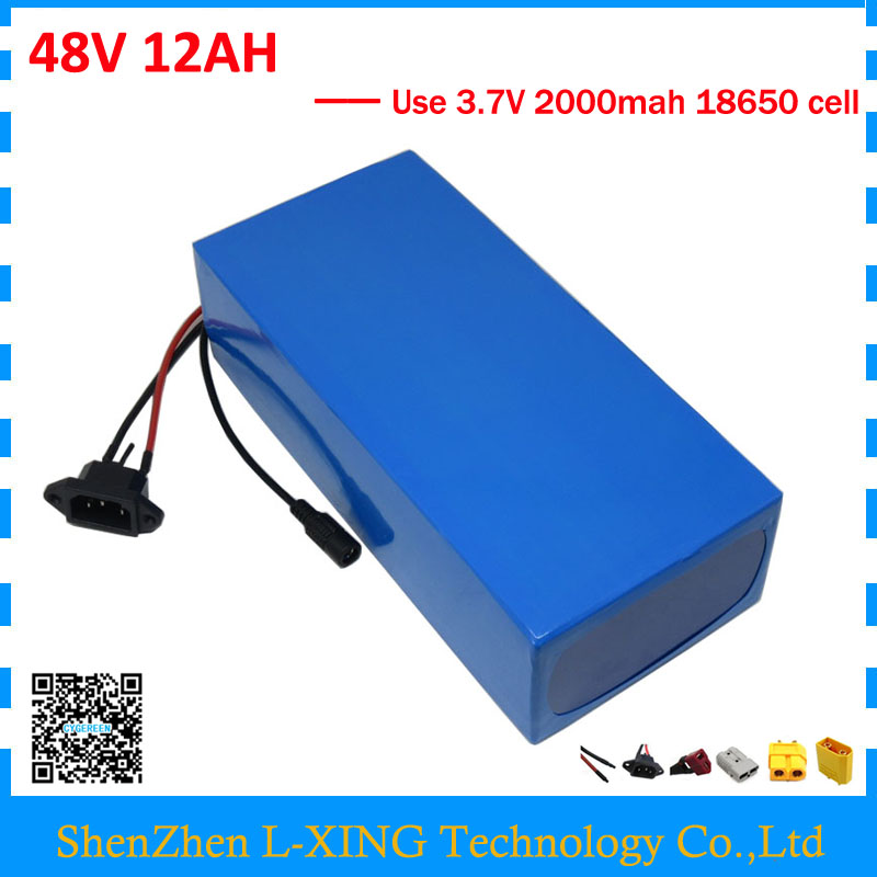Electric bike battery 48V 12AH 500W 700W 48 V ebike e scooter Lithium ion battery 12AH with 15A BMS 2A Charger Free customs duty free shipping customs duty hailong battery 48v 10ah lithium ion battery pack 48 volts battery for electric bike with charger