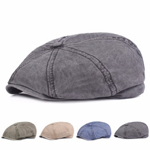 HT1602 Classic Retro Berets Western Men Women Cotton Gastby Octagonal Flat Caps Vintage Washed Denim Beret for