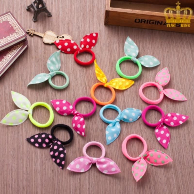 10Pcs/lot Children Hair Band Cute Polka Dot Bow Rabbit Ears Headband Girl Ring Scrunchy Kids Ponytail Holder Hair Accessories