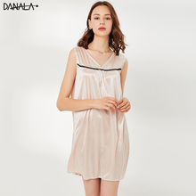 DANALA Casual Women Nightdress V-Neck Sleeveless Plus Size S-3XL Sexy Comfortable Silk Sleepwear