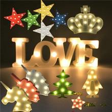 цена на Novelty LED Night Light Star Crown Penguin Christmas Tree Cute Unicorn Heart Shape Love Letter Bedroom Lamp Cute Gift Home Decor
