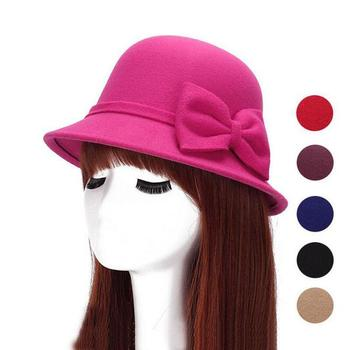 2017 Spring Fashion Vintage Women Ladies Wool Fedora Hat Bucket Dome Bell Bow Felt Hats Women Cap Hats Hat 6 color 1