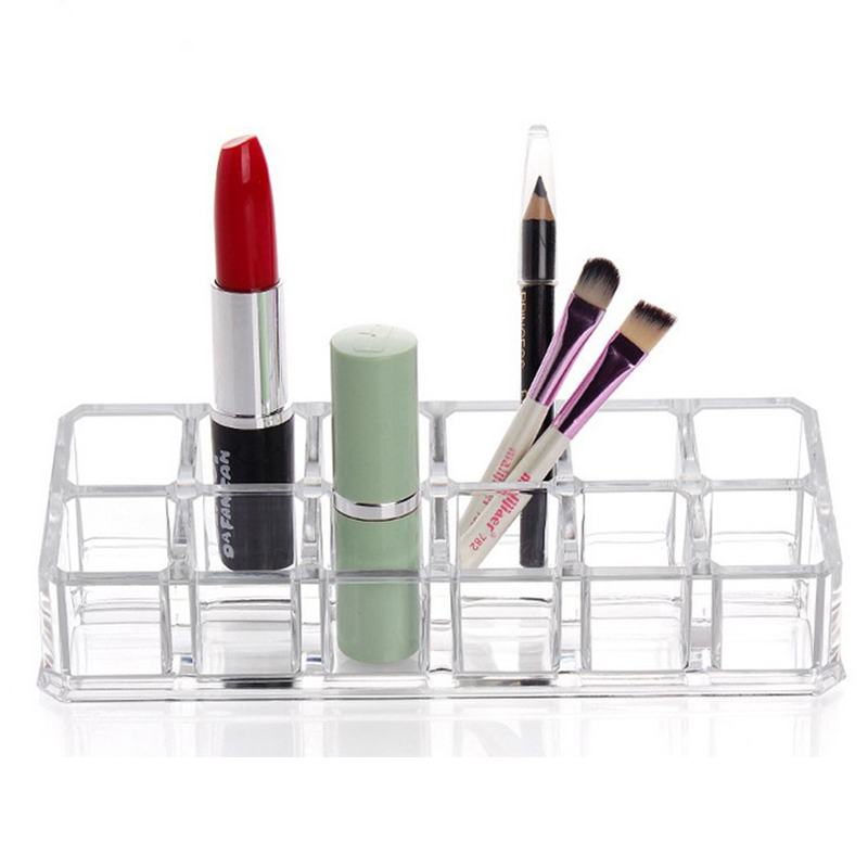 Transparent acrylic 12-grid storage box desktop nail polish display stand makeup cosmetics organizer