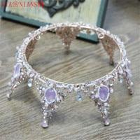 XIAONIANSHI Baroque Vintage Purple Rhinestone Round Big Crown Wedding Headdress Luxury Crystal Queen King Crowns Bridal Tiaras