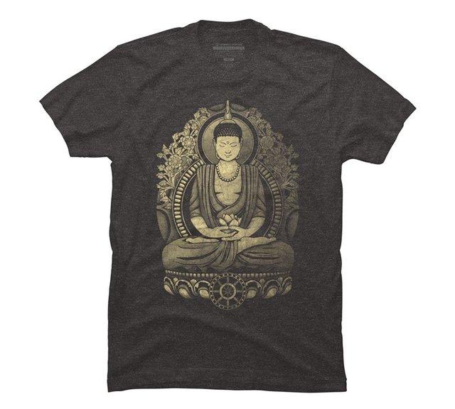 Camisa dos homens t de Gautama Buda Resistiu Halftone Gráfico T Shirt dos homens