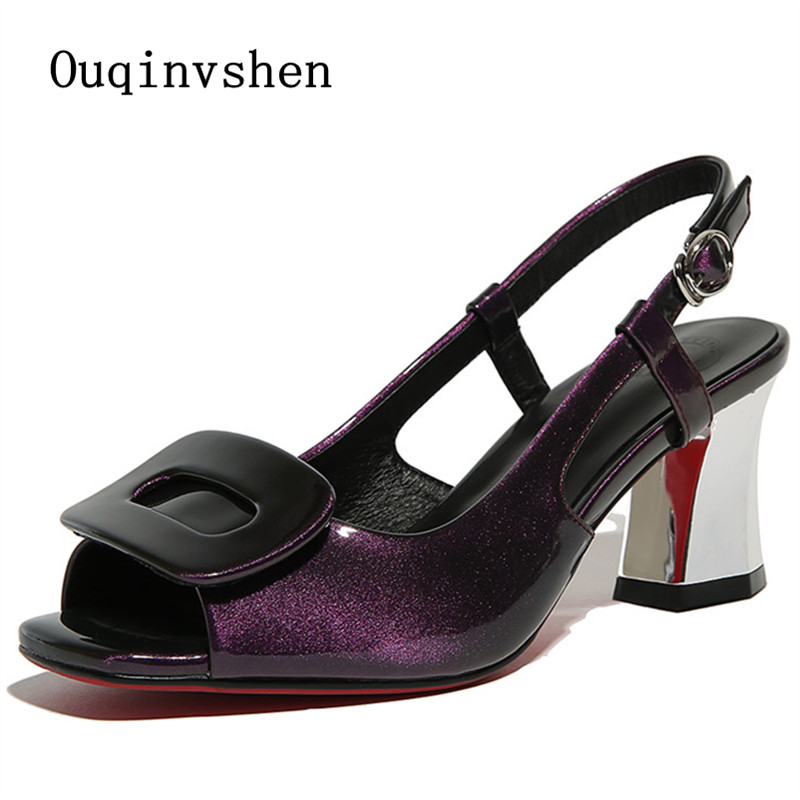 ФОТО Roman Sandals 2017 Summer Pearlescent skin Purple Green  Square heel Red soled shoes Open toe Women Heel Sandals Large size 42